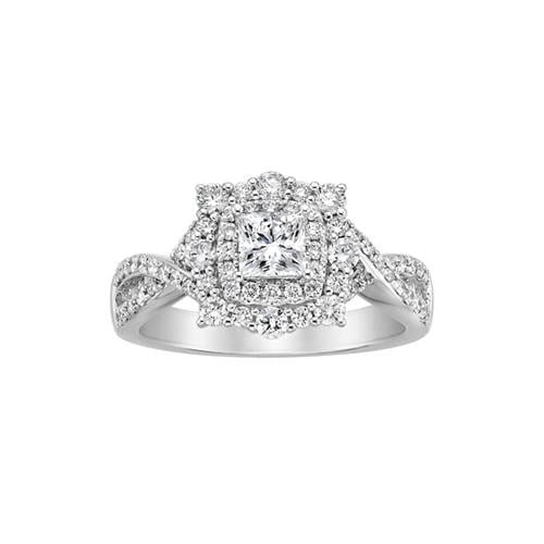square diamond vintage engagement ring