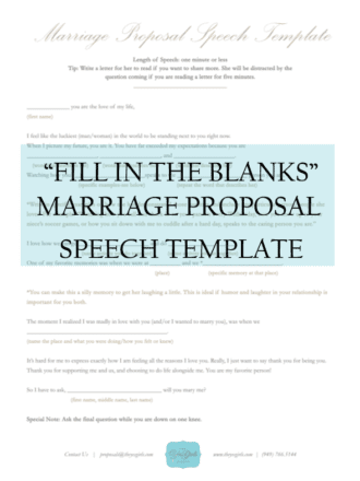 perfect marriage proposal speech template