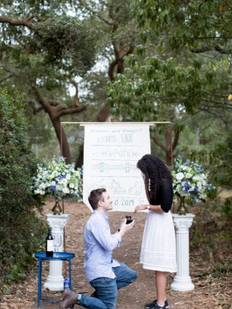proposal in front of copper arch with banner