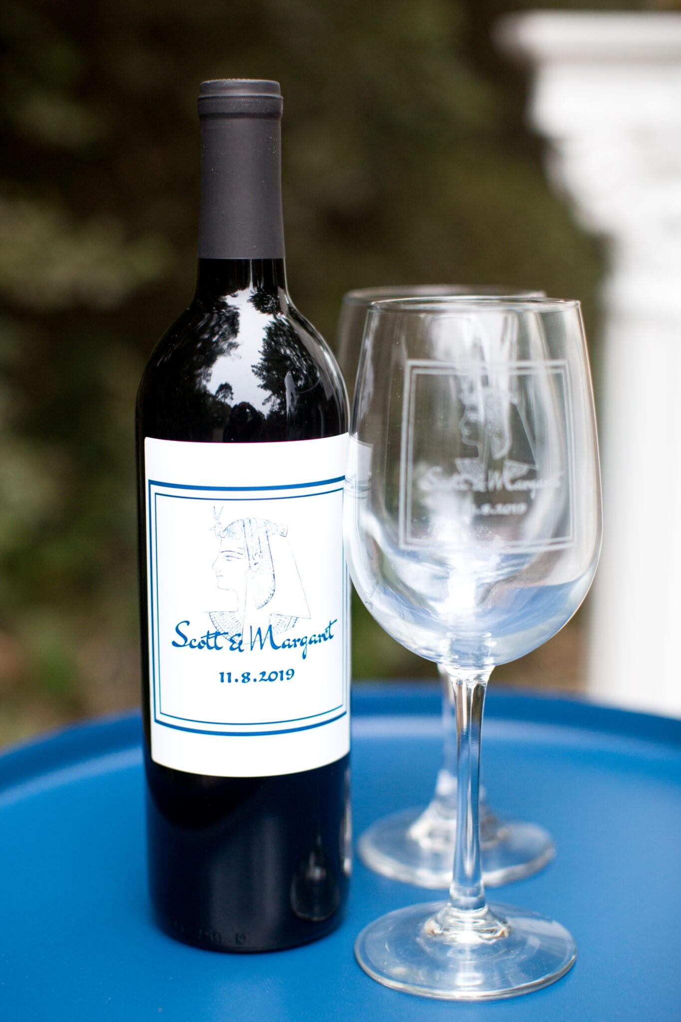 Custom wine bottle and wine glasses for engagement