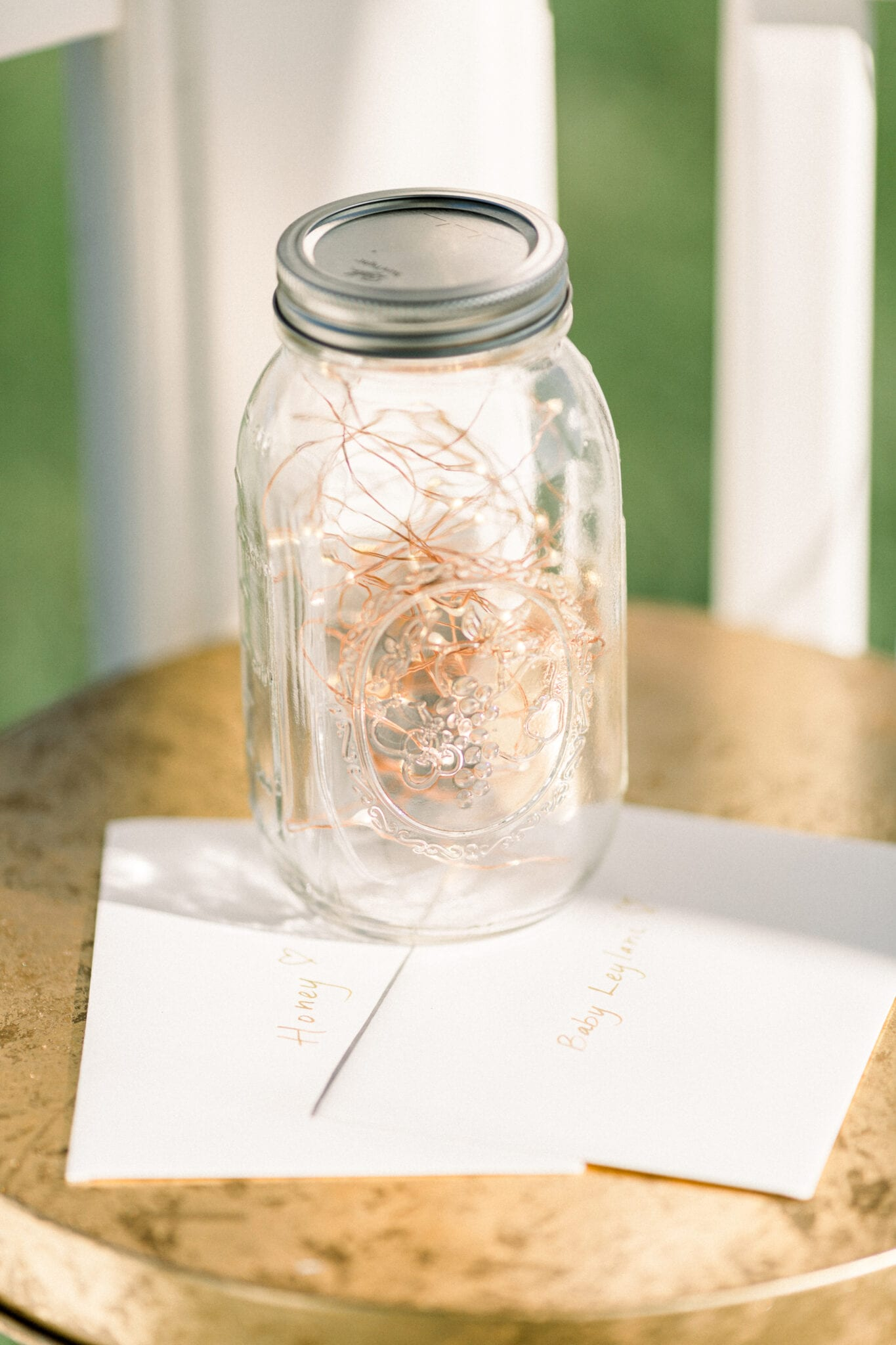 Fairy lights in jar with letters