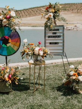 Spin wheel and letter board with colorful flowers