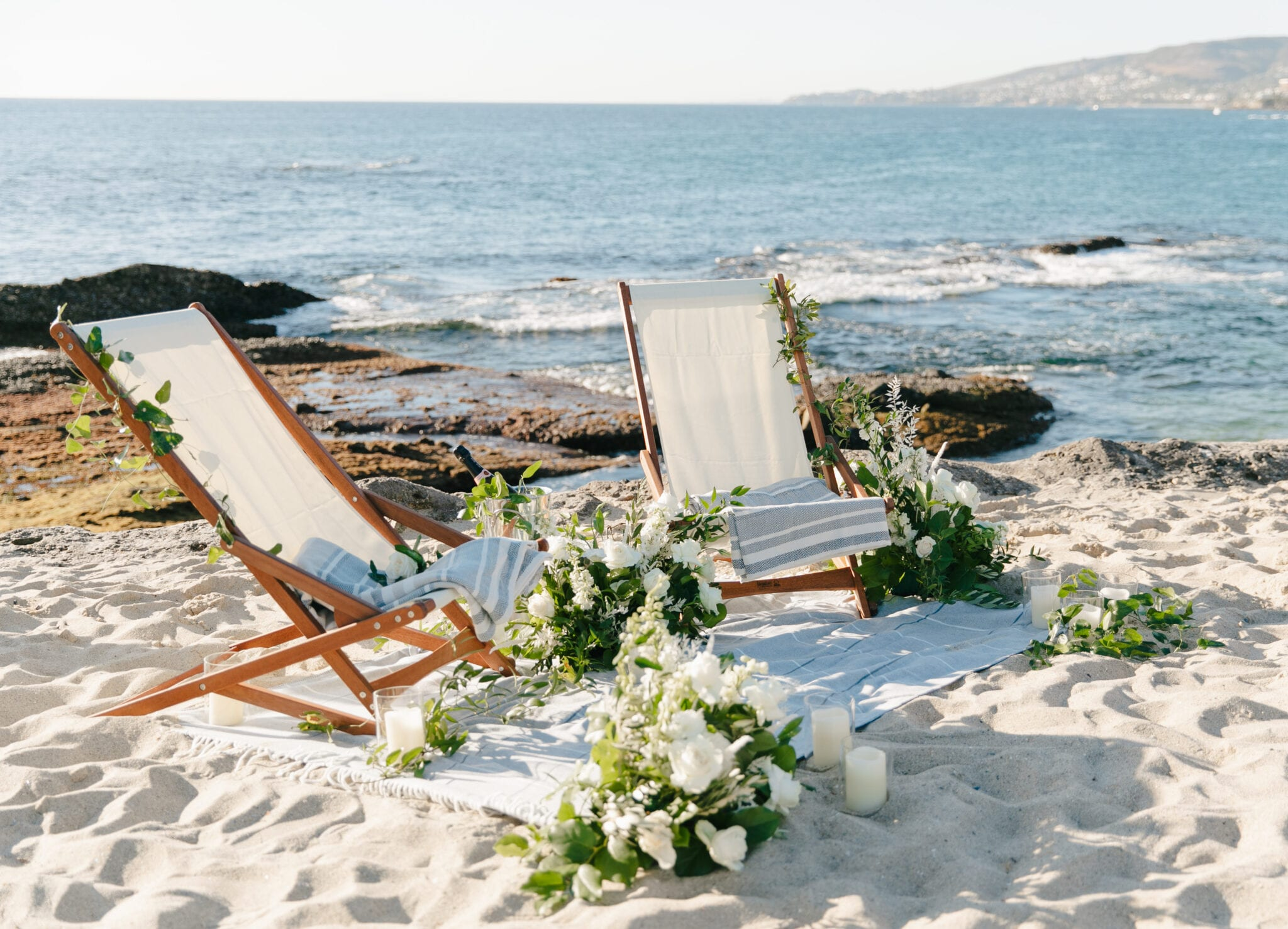 Romantic chairs in sand