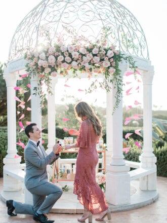 wedding proposal in front of gazebo