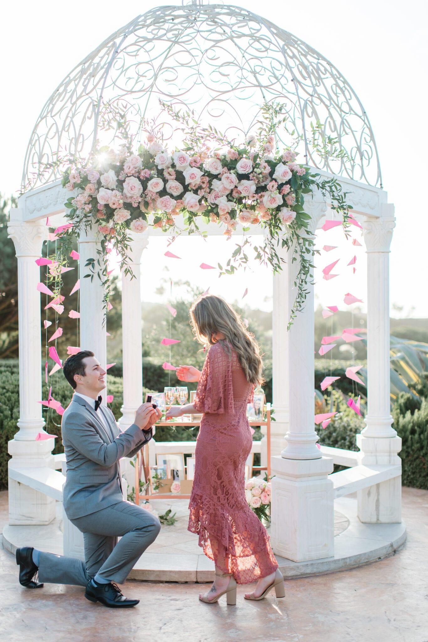 wedding proposal in front of gazebo