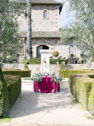 Pink Marriage Proposal at winery napa