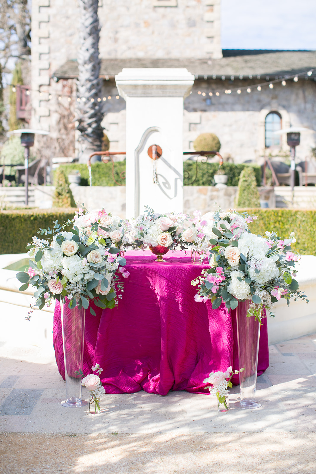pink table scape with pink flowers