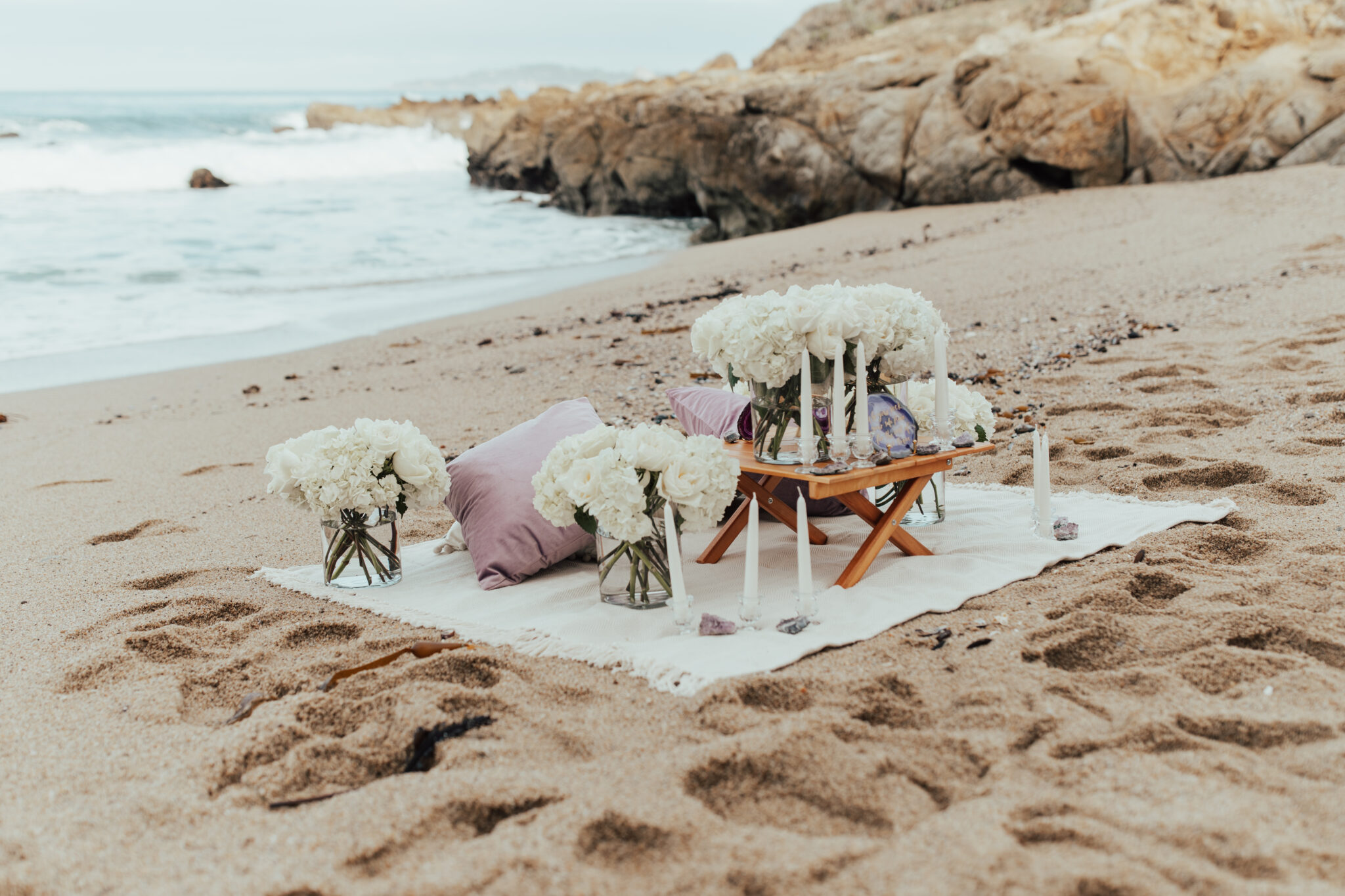 lavender proposal at the beach