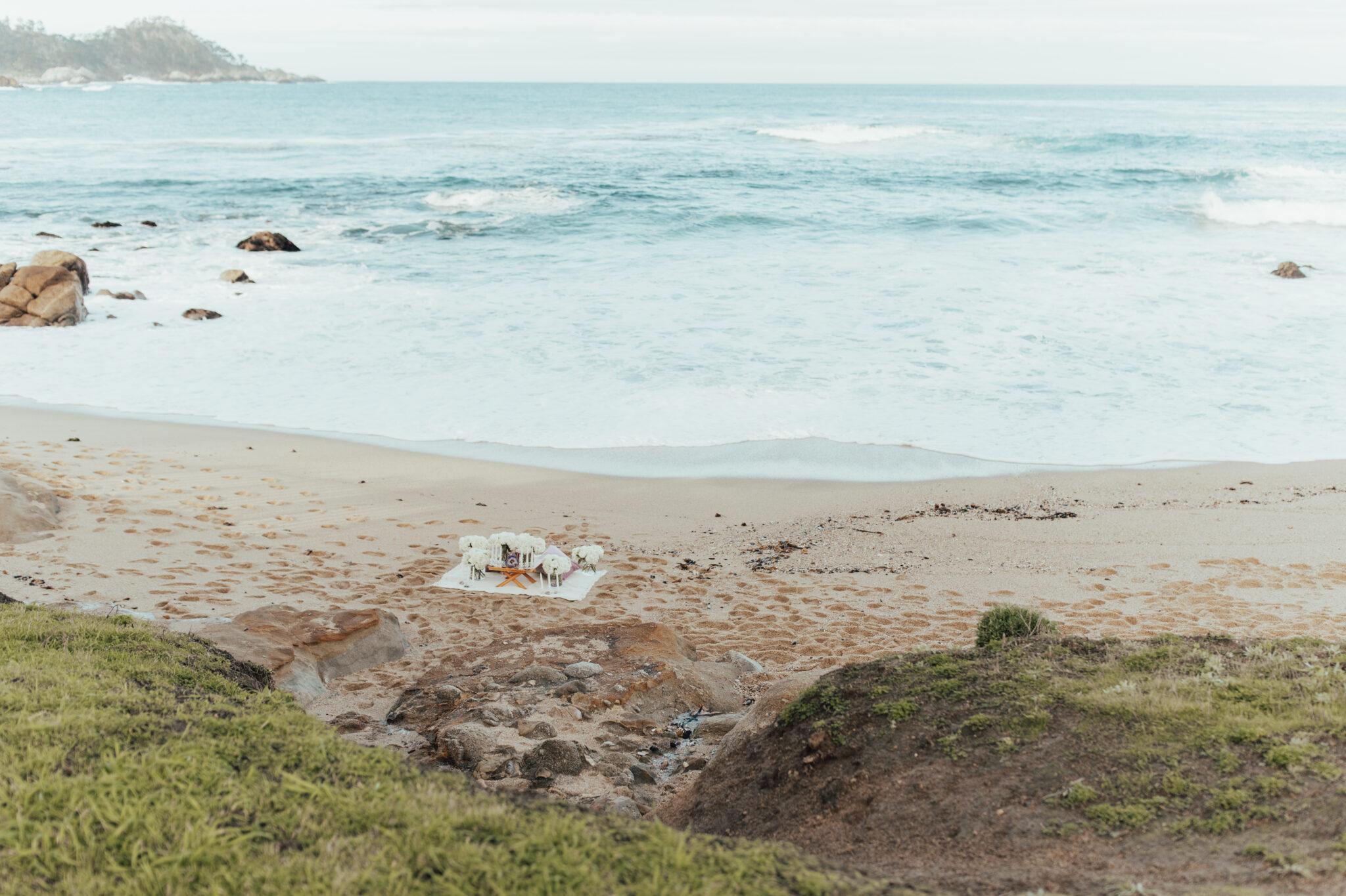 picnic proposal at the beach