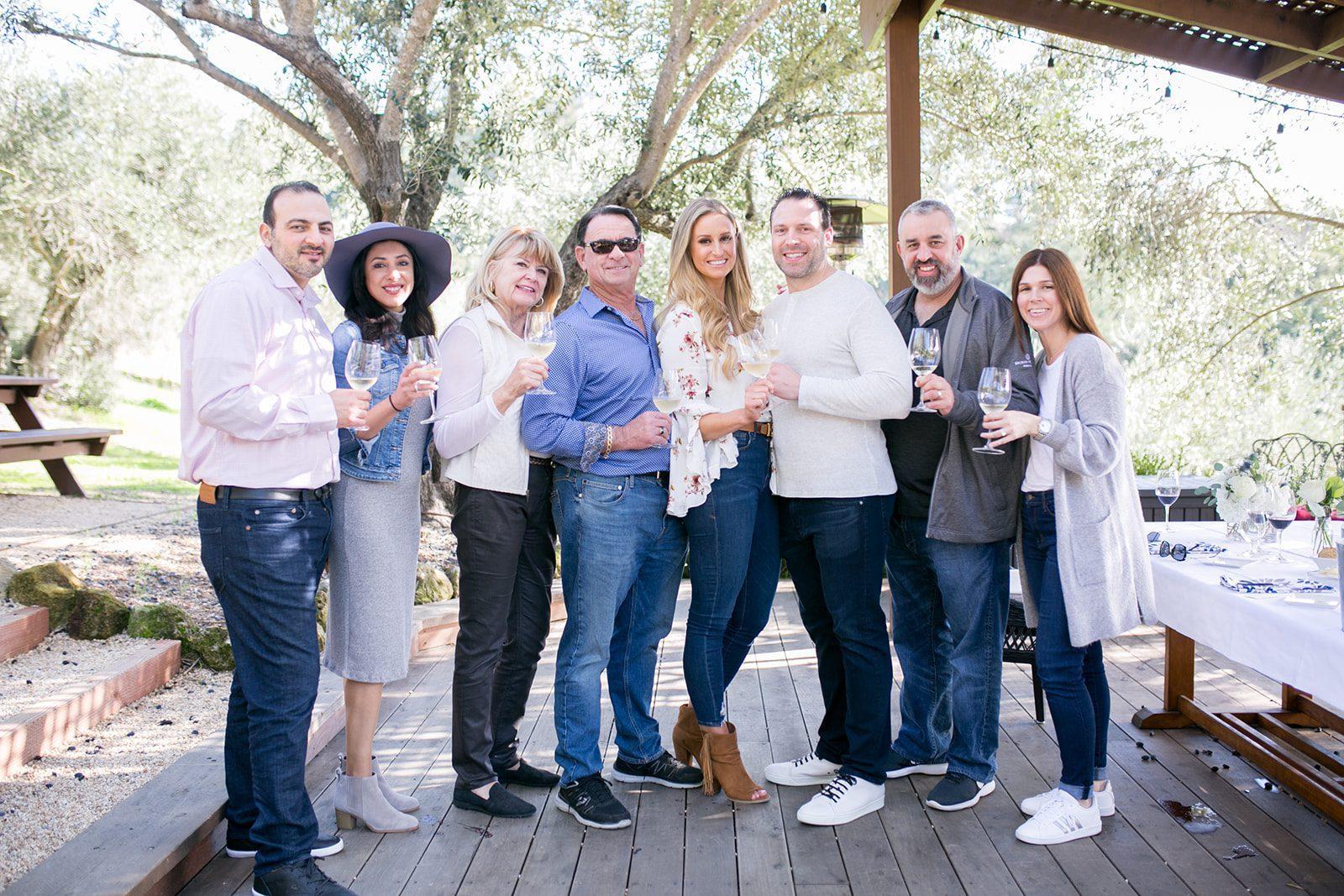 Family celebrating engagement