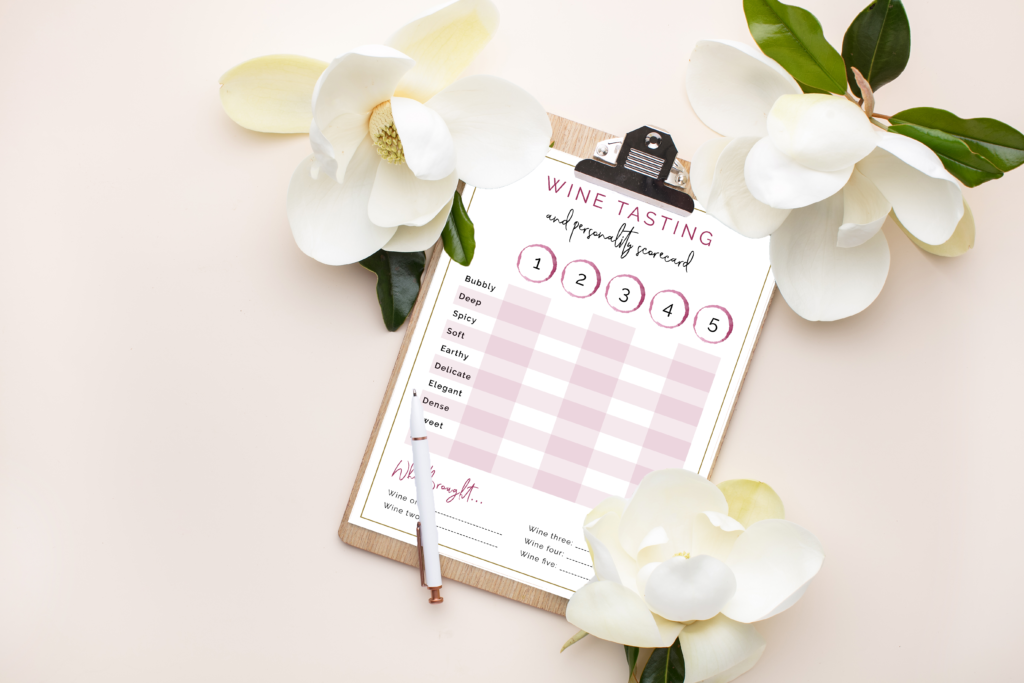 wine tasting printable for at home date night