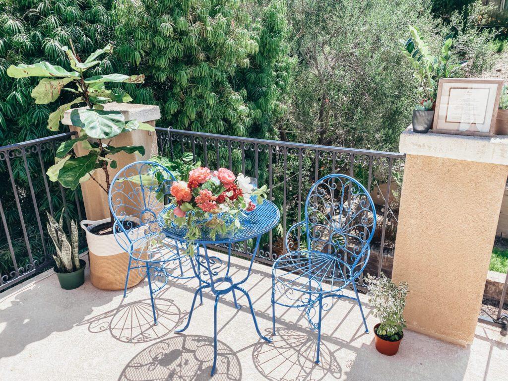 table on a balcony