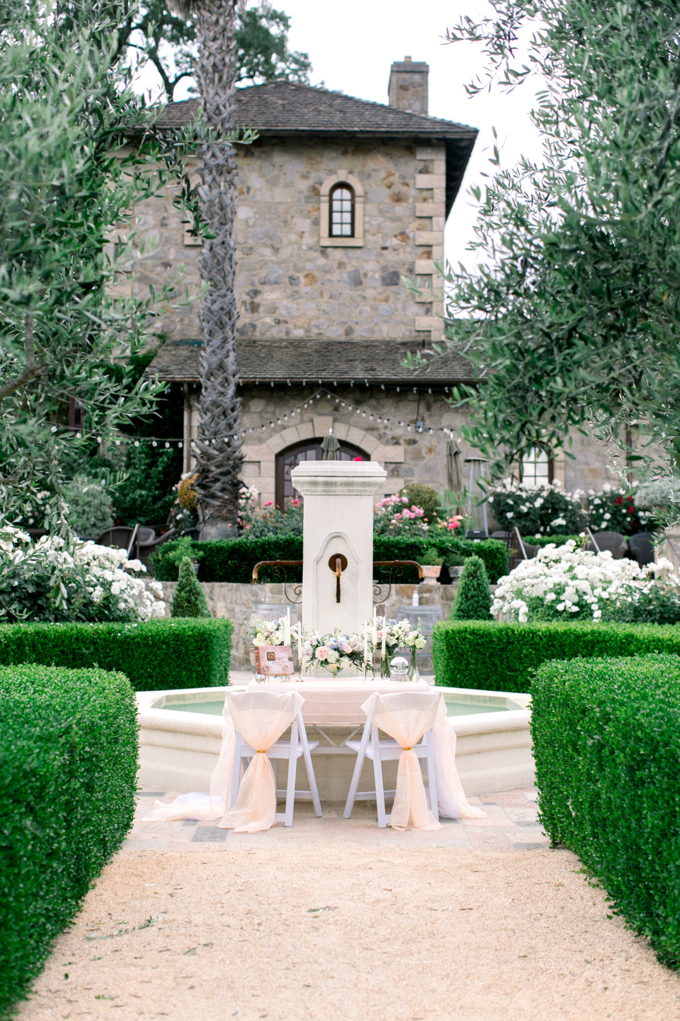 romantic table at a winery