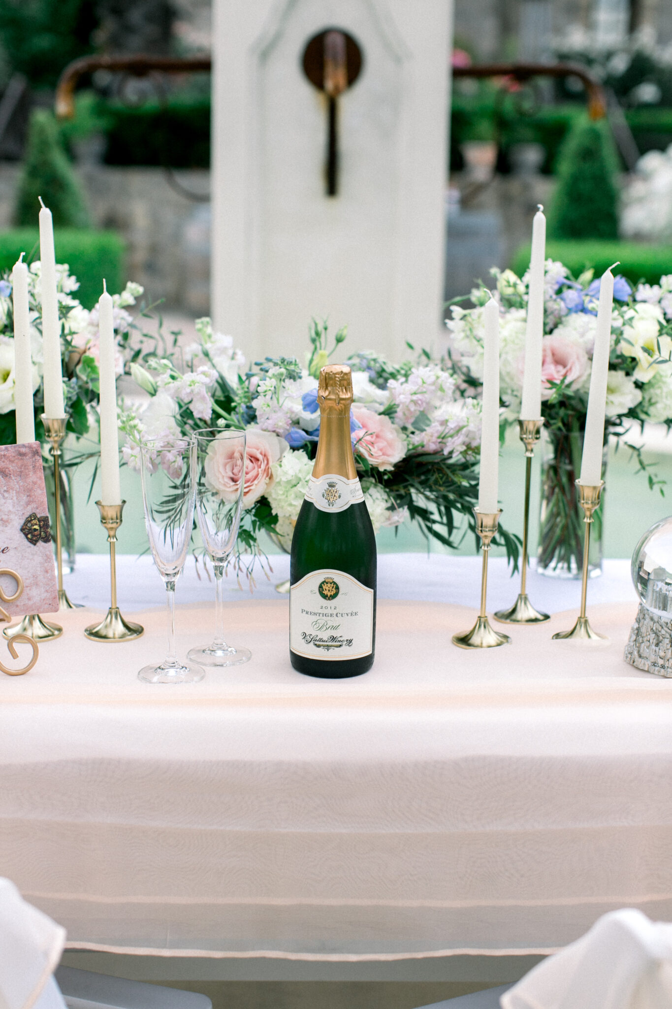 champagne on a romantic table