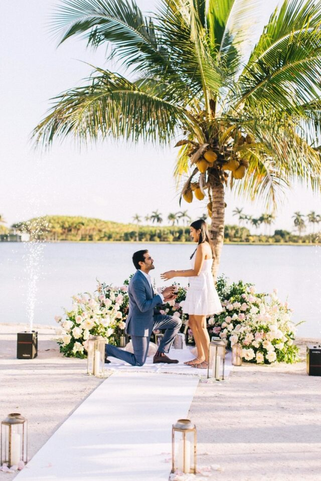 Miami private beach marriage proposal