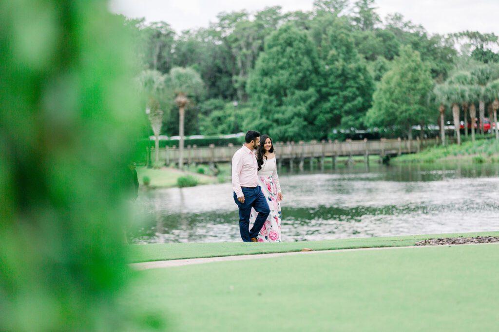couple walking in park