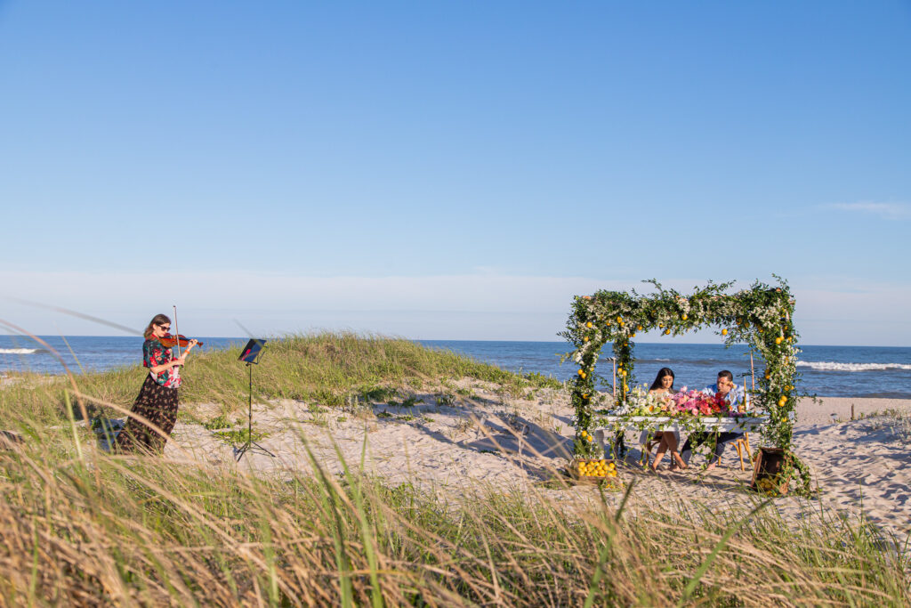 beach marriage proposal in hamptons live violinist