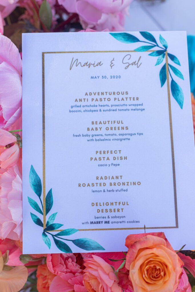 custom menu private dinner marriage proposal