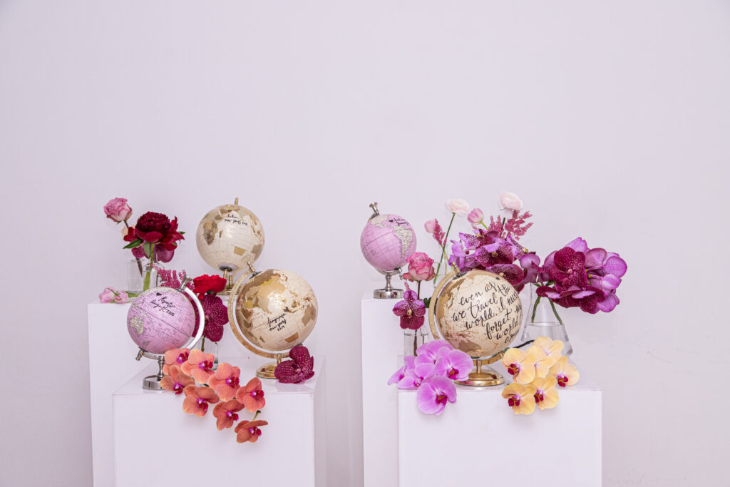 gorgeous pink flowers and globes for wedding proposal