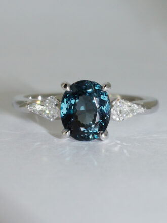 Colored stone engagement ring