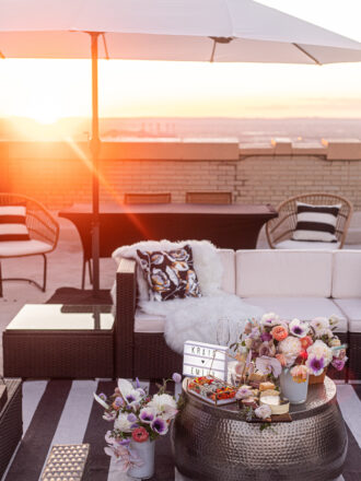 new jersey rooftop proposal with movie snacks