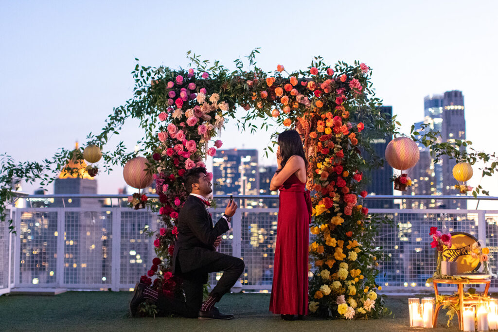 rooftop surprise proposal set up by the yes girls