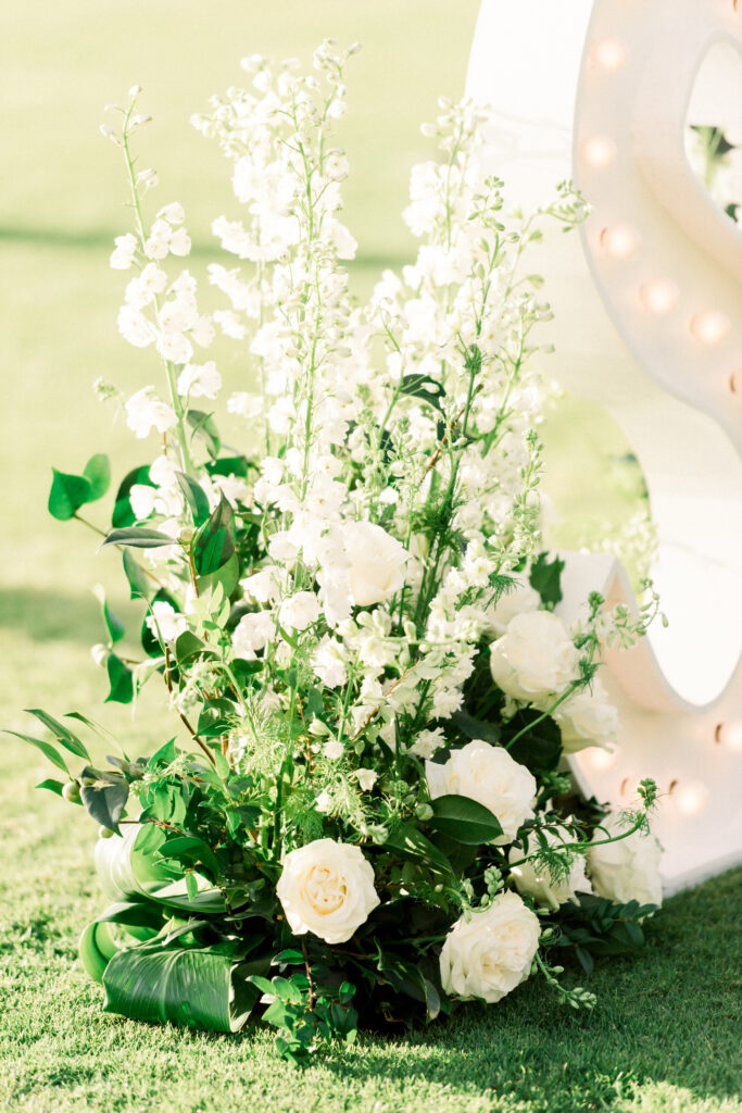 white and green florals