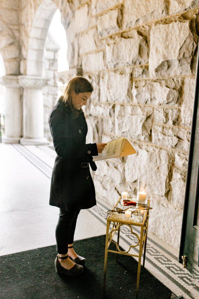girl reading custom love story book