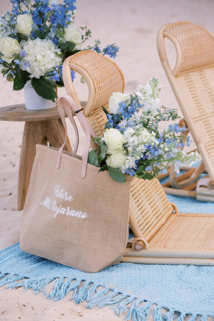 Close up of chairs and floral decor for marriage proposal