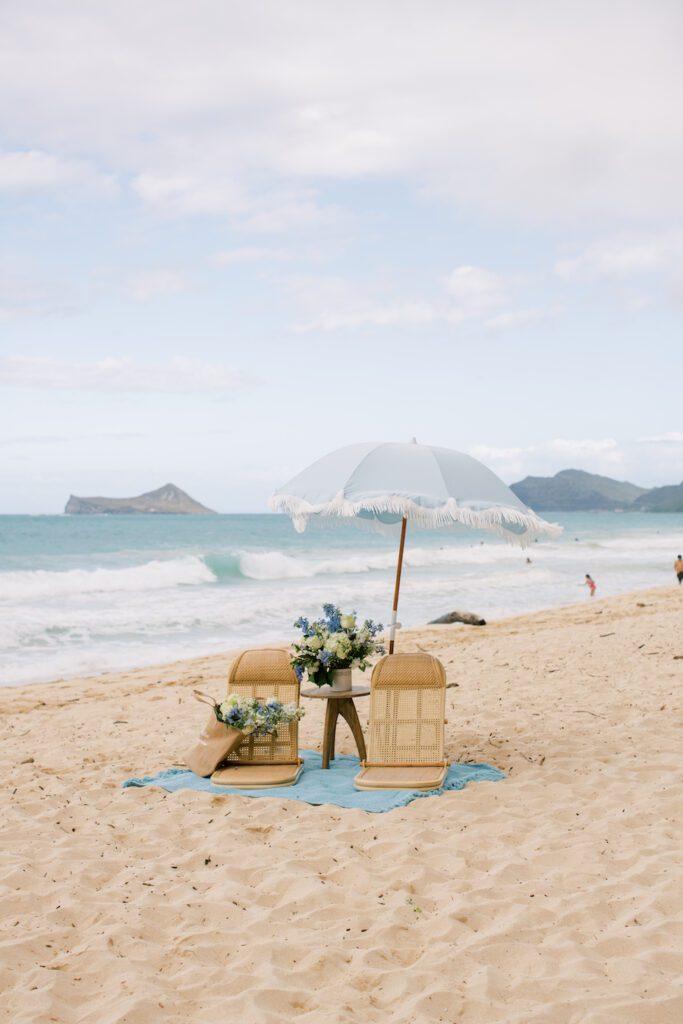 Marriage Proposal Beach Picnic Setup