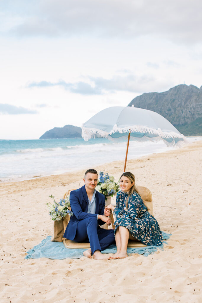 Couple posing for photo after engagement