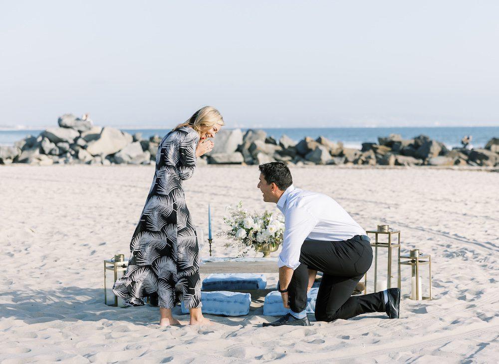 san diego beach proposal with box sock