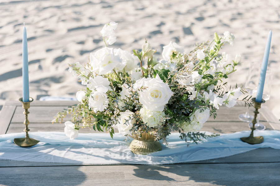white and green flowers proposal in san diego