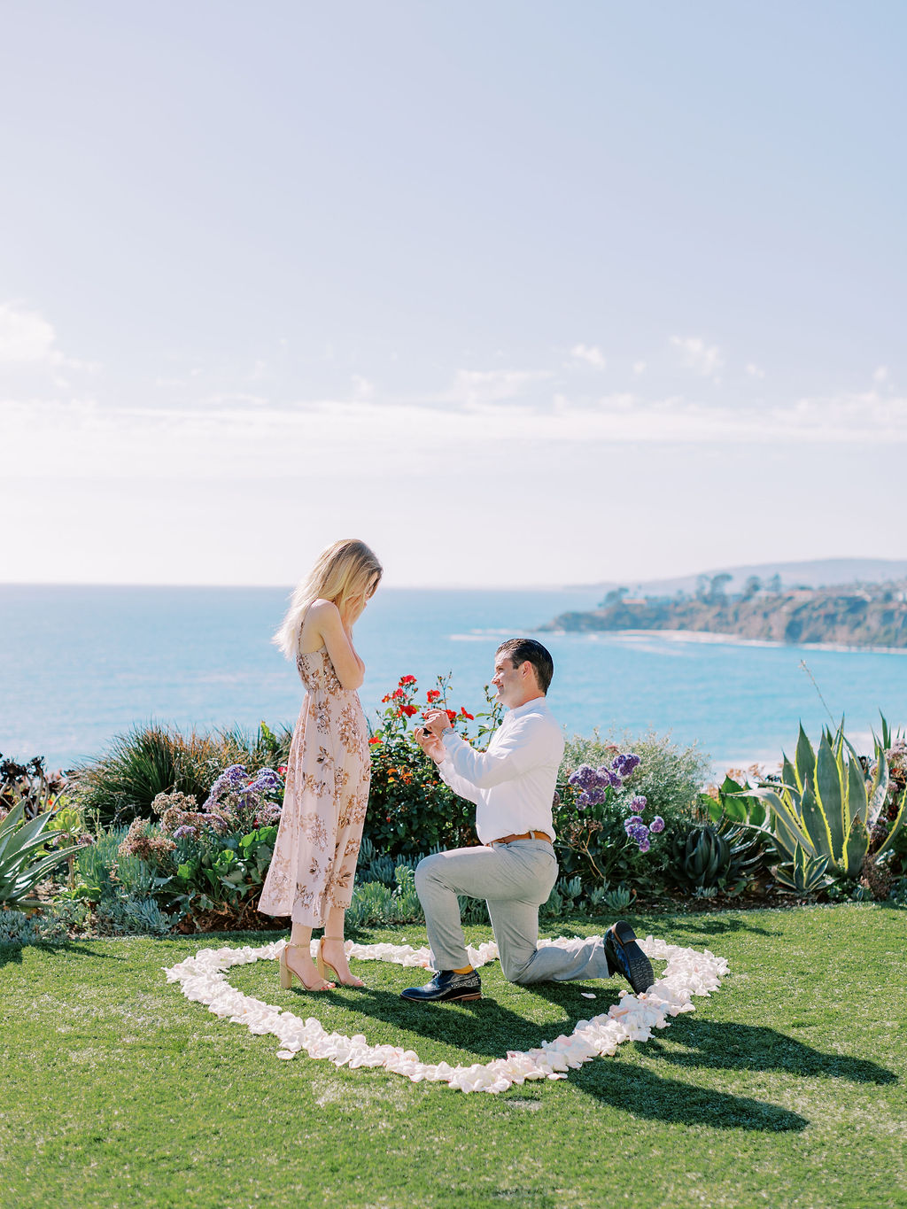 Man down on one knee during marriage proposal