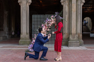 Man on one knee in marriage proposal