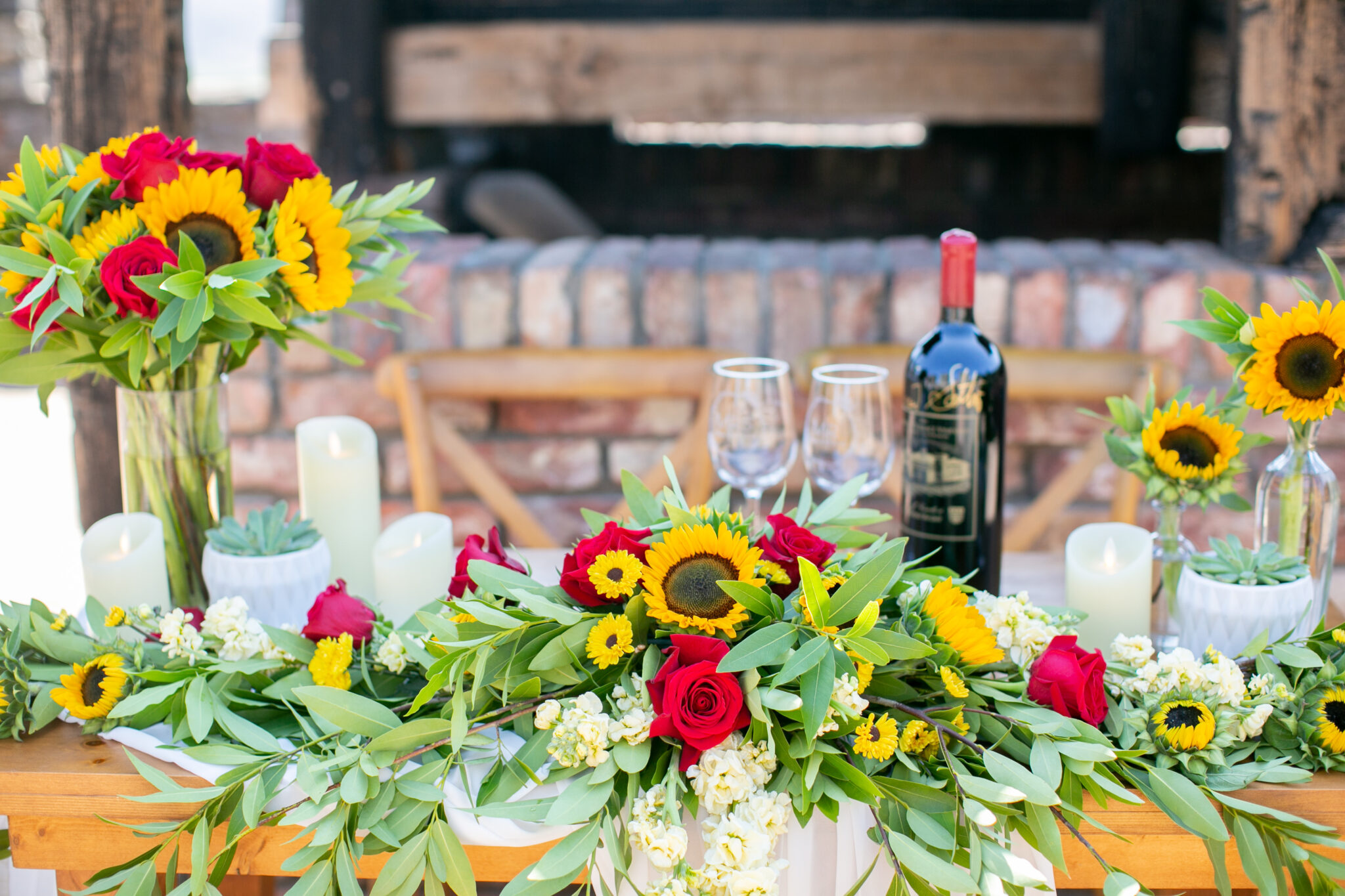 beautiful sunflower and rose set up for proposal in Napa