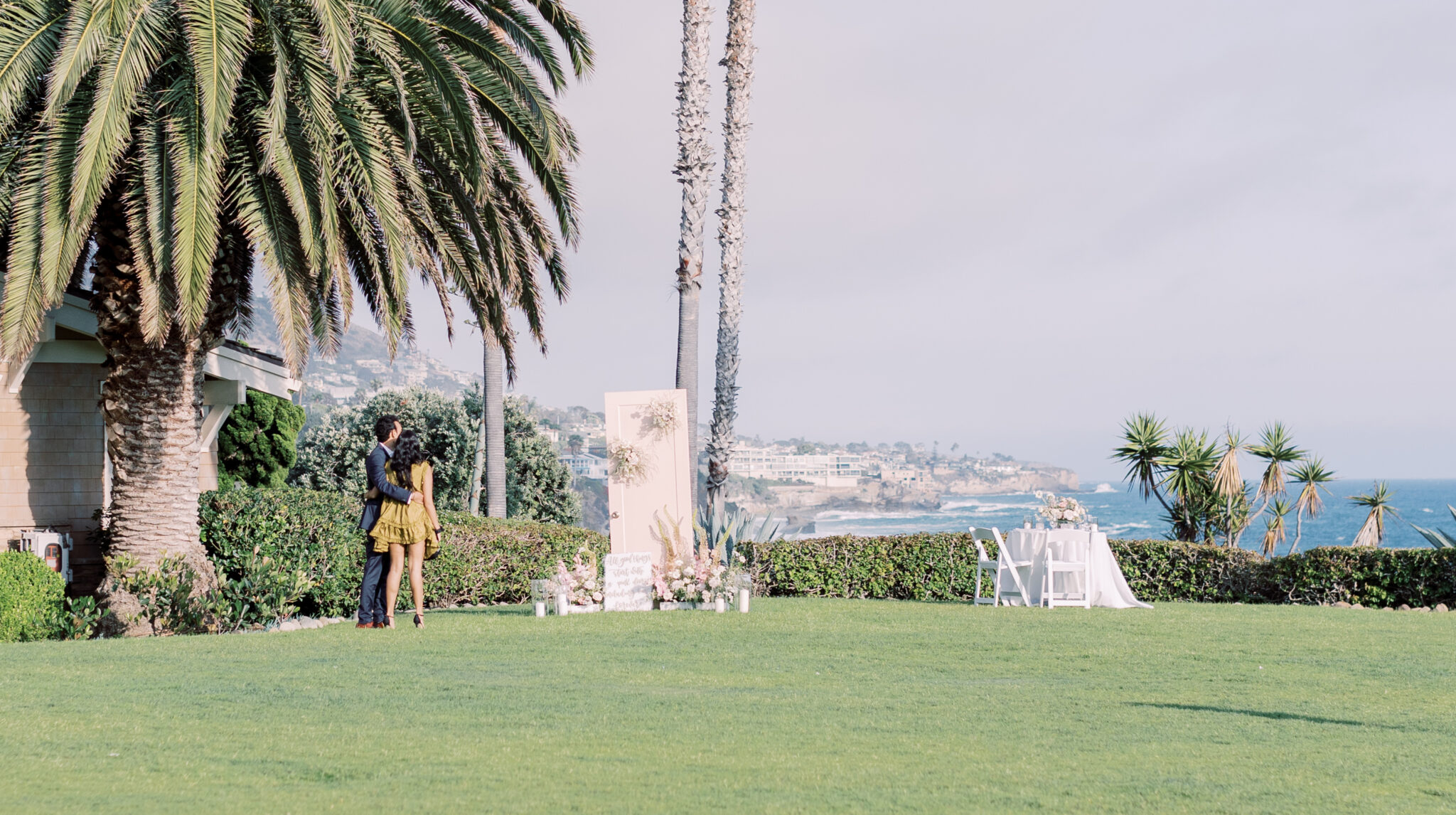 couple about to get engaged in laguna beach at montage