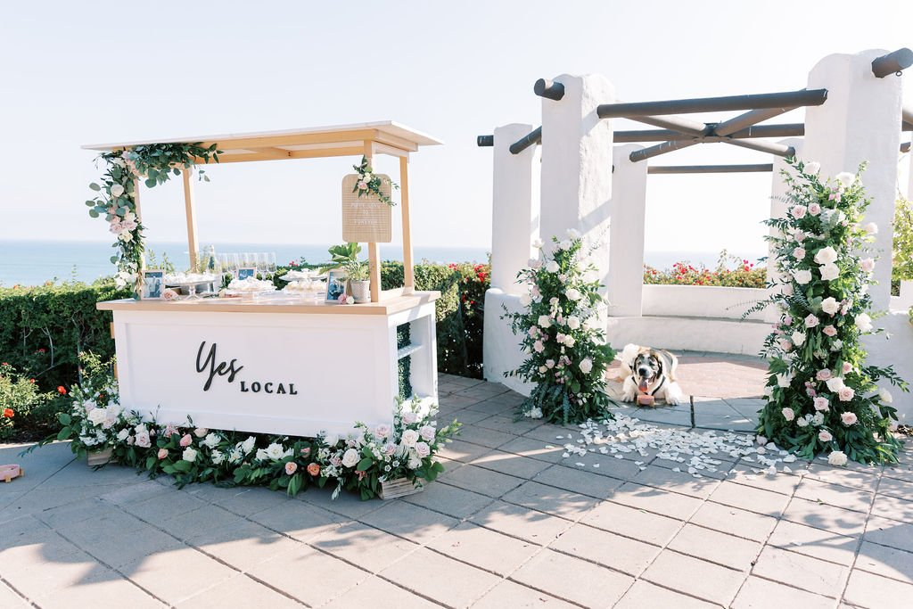 puppy proposal with wine cart