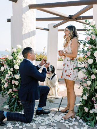 man proposing with help of luxury proposal planners in california