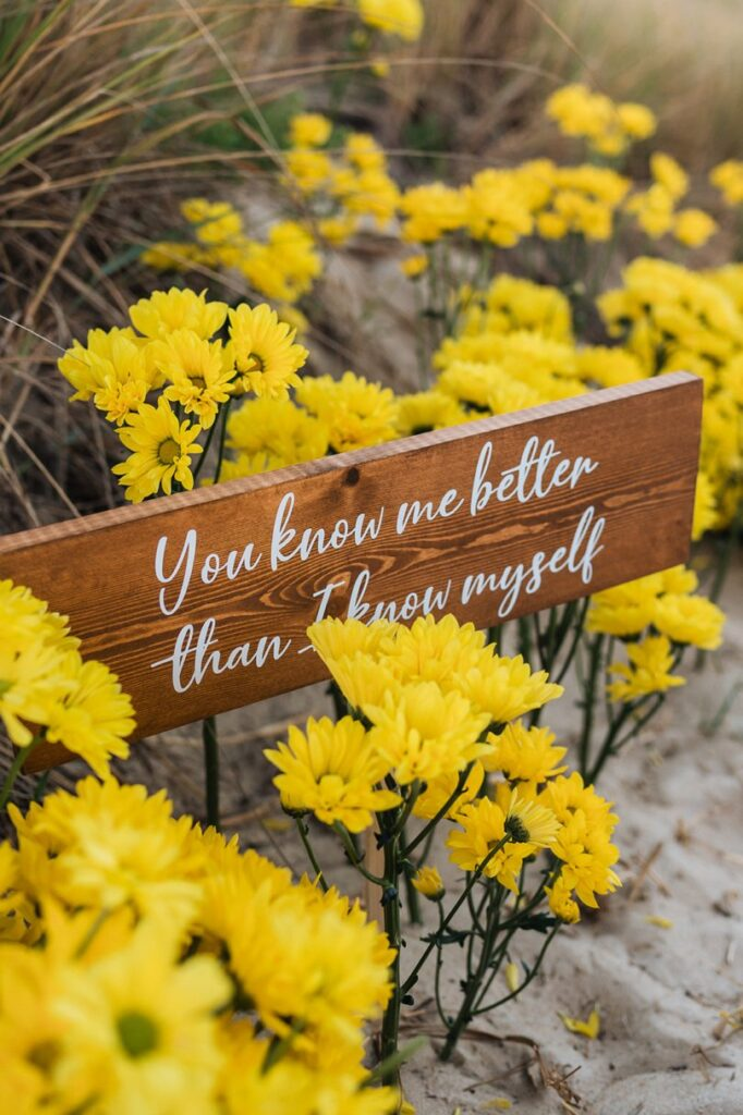 sign in yellow daisies